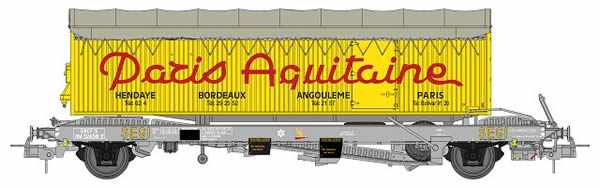 REE Modeles WB-227 - Wagon KANGOUROU + Trailer Louis REYNES single axle