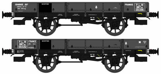 REE Modeles WB-357 - French 2pc Flat Wagon Set OCEM 19 Type B