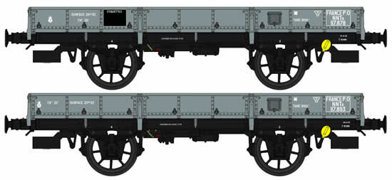 REE Modeles WB-359 - French 2pc Flat Wagon Set OCEM 19 Type A
