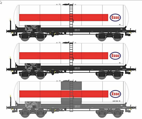 REE Modeles WB-411 - French Era IV 3 pc tank car set ESSO