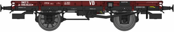 REE Modeles WB-443 - French Railroad original green liveral PLM FLAT Wagon, hand brake, PLM Boxes, 1 plain & 1 spoked wh