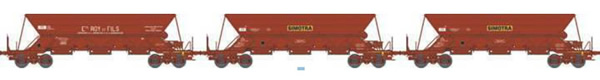 REE Modeles WB-575 - SET of 3 French Hopper Wagon EX Era IV  ROY&Fils / SIMOTRA  - CLoading SAND