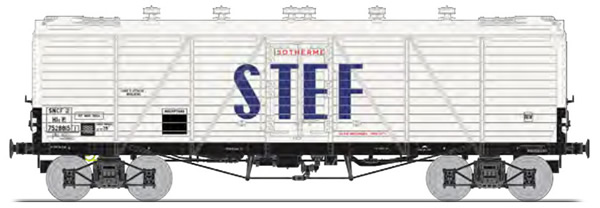 REE Modeles WB-584 - French FRIGO Refrigerator Car TPNew Construction, Ice door on roof, Aerator SNCF STEF Blue Letter E
