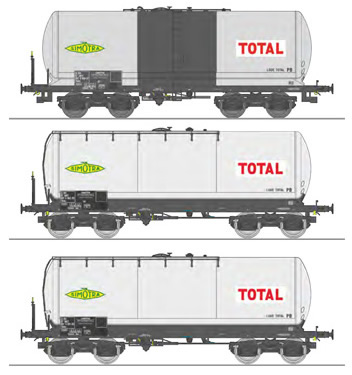 REE Modeles WB-590 - SET of 3 French Short ANF Tank Cars, Y 25 bogie Era IV SIMOTRA-TOTAL