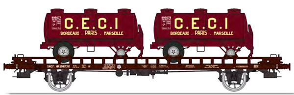 REE Modeles WB-614 - French UFR double transport Era III HR 598173 brown, black frame + 2 round shaped tank trailers CEC
