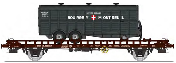 REE Modeles WB-619 - French UFR double transport Era III with screw braking control, brown, black frame + 1 twin axles v