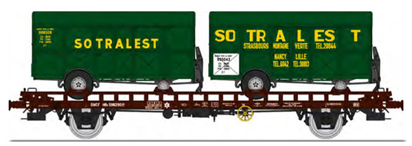 REE Modeles WB-620 - French UFR double transport Era III with screw braking control, brown, black frame + 2 van trailers