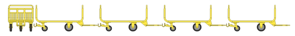 REE Modeles XB-012 - SET of 4 metallic luggage trolley - Yellow