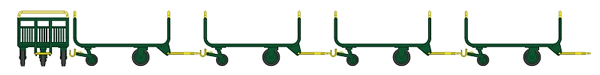 REE Modeles XB-014 - SET of 4 metallic luggage trolley - Green - Yellow - PTT brown