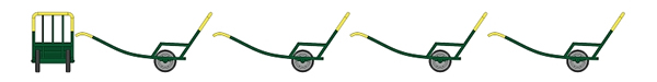 REE Modeles XB-016 - SET of 4 metallic Hand trolley - Dark green and yellow