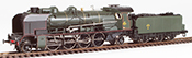 French Steam Locomotive Class 141 of the SNCF VILLENEUVE depot, ACFI water pump, A 27 tender, DCC S