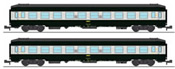SET of 2 UIC SLEEPING CAR, High roof with grey color, Green-Alu 160 color Era IV