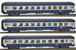 French SNCF Coach Set of three UIC Sleeping Cars TH (2 x B9c9x + 1 A4c4B5c5x), Blue/Grey, modern lo