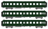 French SNCF Coach Set of three Bacalan Cars B11 Grey frame, green roof, white logo, Era IV SNCF