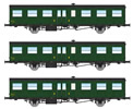 French SNCF Coach Set  of three Southwest Car, long gutters, 1 Door, 16m, (2xB6t N°41792 and 41807