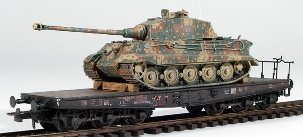 REI Models 38717AM - German WWII King Tiger in Ambush Camo loaded on a heavy 6 axle DRB flat car