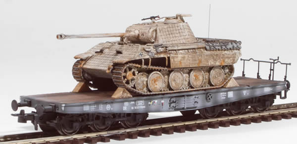 REI Models 387189 - German WWII Panther Winter Camo with battle damage loaded on a heavy 6 axle DRB flat car