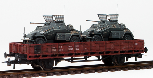 REI Models 38770 - German  Sdkfz 222s in Grey Livery loaded on a heavy 2 axle DRB flat car