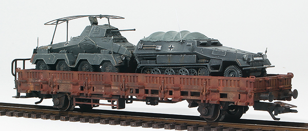 REI Models 38772 - German Sdkfz 231 and Sdkfz 251 in Grey Livery loaded on a heavy 2 axle DRB flat car