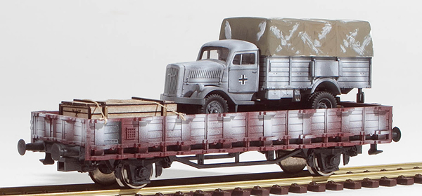 REI Models 460312WC - German WWII Opel Blitz in Ambush Camo loaded on a 2 axle DRB stack car