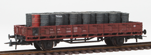 REI Models 48780151 - German Petroleum Drum Transport loaded on a 2 axle DRG flat car
