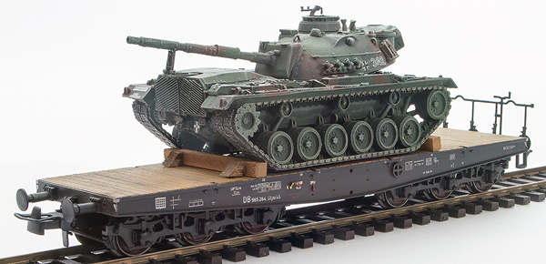 REI Models 6870079 - BRD German Bundeswehr M48 A2G Camoflaged Patton loaded on a six axle flat car