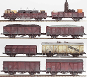 German DB eight piece custom weathered freight car set