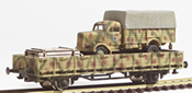 REI Models 460311SAC German WWII Opel Blitz  in Ambush Camo loaded on a heavy 4 axle DRB flat car