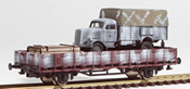 REI Models 460312WC German WWII Opel Blitz in Ambush Camo loaded on a 2 axle DRB stack car