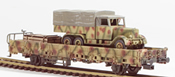 German WWII Henschel 33  in Ambush Camo loaded on a 2 axle DRB stack car