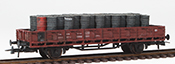 German Petroleum Drum Transport loaded on a 2 axle DRG flat car