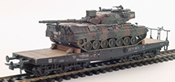 German Camoflaged Leopard A1-A2 loaded on a six axle DB flat car