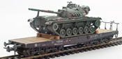 BRD German Bundeswehr M48 A2G Camoflaged Patton loaded on a six axle flat car