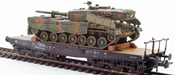 German Camoflaged Leopard 2A4 loaded on a six axle DB flat car