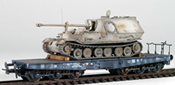 German WWII Elefant Winter Camo loaded on a heavy 6 axle DRB flat car