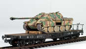 German WWII Jagdpanther Summer Abush Camo loaded on a heavy 6 axle DRB flat car