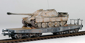 German WWII Jagdpanther Winter Camo loaded on a heavy 6 axle DRB flat car