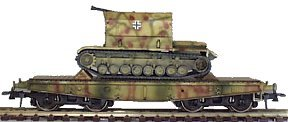 REI REI0020 - Flak Panzer IV Mobile Tanks On 4 Axle Flat Wagons in mid-war camo set of 3