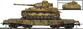 REI REI0022 - Pzkpfw Mark IV Medium Tanks Version H On 4 Axle Flat Wagons in mid-war camo