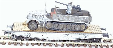 REI REI0062 - Half Track Vehicle w/ AA-Gun On 4-Axle Flat Car In Russian Front Winter Camouflage