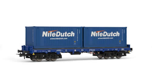 Rivarossi 6124 -  Flat wagon type Sgmmns 738, loaded with 2x20 containers Nile Dutch ATCS NS