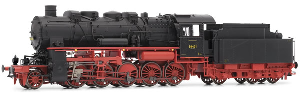 Rivarossi HR2720 - German Steam Locomotive BR 58.10-21 of the DRG with 4-dome-boiler and gas lamps