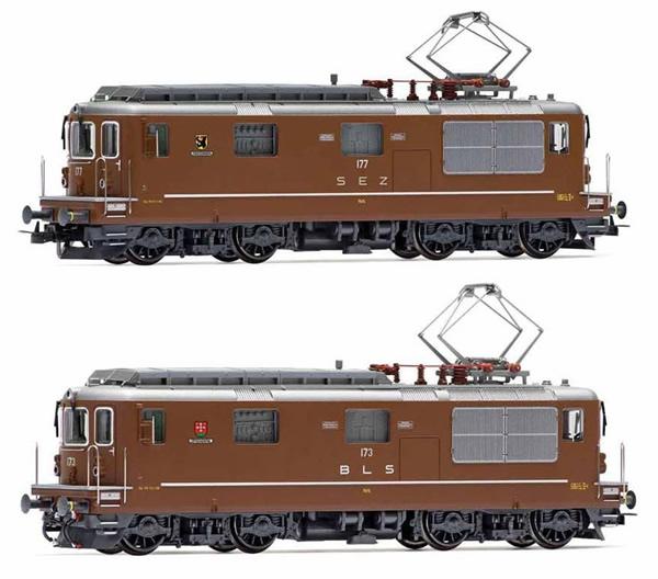 Rivarossi HR2813 - Swiss 2pc Electric locomotives Re 4/4, SEZ 177 Zweisimmen + BLS 173 Lötschental Set