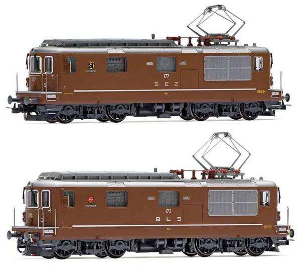 Rivarossi HR2813ACS - Swiss 2pc Electric locomotives Re 4/4, SEZ 177 Zweisimmen + BLS 173 Lötschental Set(Sound Decode