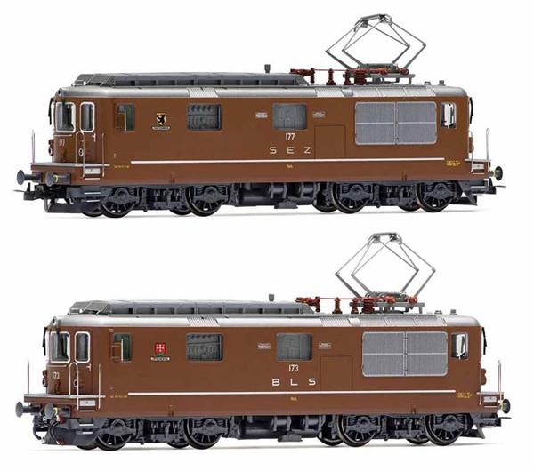 Rivarossi HR2813S - Swiss 2pc Electric locomotives Re 4/4, SEZ 177 Zweisimmen + BLS 173 Lötschental Set(DCC Sound De