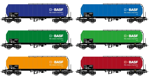 "Rivarossi HR6420 - 6-unit display 4axle isolated tank wagons, different liveries, ""BASF"""