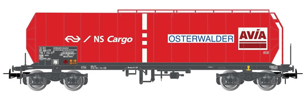 """Rivarossi HR6422 - 4-axle Isolated Tank Wagon, red livery, """"NS-Cargo"""""""