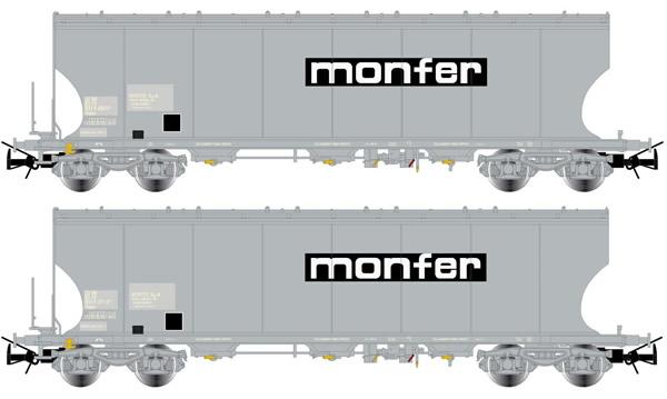 Rivarossi HR6426 - 2-unit set hopper wagons type Uagpps with round sides, grey livery MONFER
