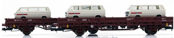 Rivarossi HR6458 - 2pc 2-axle flat wagon Kls Deutsche Bundesbahn Set