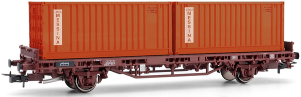 Rivarossi HR6463 - 2-axle flat car Kgps without sideboards, loaded with two 20´ containers MESSINA
